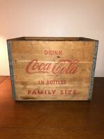 Vintage Wooden Drink Coca Cola In Bottle Crate Handles Family Size Box Old Decor