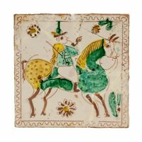 A Vintage Polychrome Decorated Delft Style Tile
