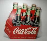 Coca Cola Wall Hanging Wooden 6 Pack Coke Bottle Sign Advertisement Plaque 15x17