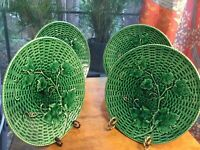 Old Sarreguemines Grape Vines on Baskerweave Green Plates c.1870s Set of Four