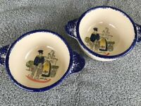 2 Vintage Fait Main (French pottery) France Small Two Handle Bowls