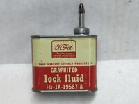 Vintage Ford Mercury Lead Top 4 Oz Lock Fluid Oil Can  Handy General Oiler Tin