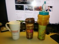DUNKIN DONUTS DD TUMBLER MUG WATER BOTTLE LOT OF 3 NEW USED MIX LOT OLD VINTAGE