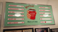 Vintage Look Reproduced Coca-Cola Menu Sign-MINT!