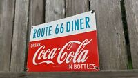 VINTAGE COCA COLA PORCELAIN GAS BEVERAGE SODA ROUTE 66 DINER STOP SERVICE SIGN