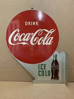 Vintage Coca Cola Flange Sign Ice Cold Drink Bottle Cap Fishtail Button Gas Oil