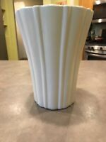 Vintage Haeger USA H.2 Off White Tall Ribbed Pottery Vase Planter