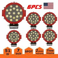 6x 7inch Offroad Led Work Light 51W Flood Driving for Jeep 4X4 Tractor ATV Round