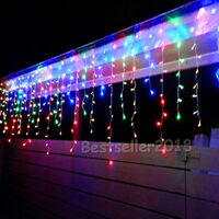 Blue Twinkle LED Light Icicle Curtain Christmas Garland New Year String Holiday