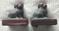 Van Briggle Dog Bookends Mulberry and Green Glaze - Set of Two