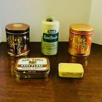 LOT of 5 VINTAGE ADVERTISING TINS Amyl Nitrite, Tobacco, Foot Powder, Ginger