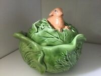 Pottery Cabbage Cookie Jar Fruit Dish With Rabbit Lid Ceramic Handpainted