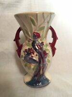 Vintage Hand Painted McCoy Peacock Vase Artist Signed F.W. - Birds of Paradise