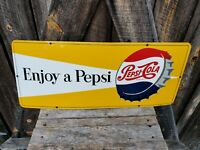 1950s Pepsi Sign. Porcelain. Single Sided 30inx12in