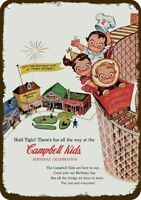 1956 CAMPBELL SOUP KIDS BIRTHDAY ROLLER COASTER Vintage Look REPLICA METAL SIGN