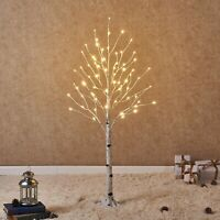 Hairui White Birch Tree with LED Lights 4FT 72L for Christmas Holiday Party D...
