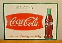 Ice Cold Coca-Cola Fishtail Embossed Metal Soda Pop Sign Made In U.S.A.