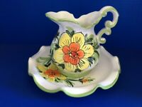 VINTAGE CERAMIC FLORAL WATER PITCHER + PLATE MADE IN ITALY