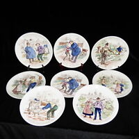 FRENCH FAIENCE PLATES BY SARREGUEMINES - ANTIQUE SET OF 8 - 7 3/4