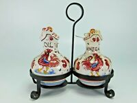 Vintage Ceramic P.V. Italy Hand Painted Rooster Oil and Vinegar Cruet Set #06433