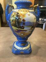 Old Nippon Japan Hand Painted Trophy Vase Urn Blue Gold Beaded Moriage Embossed