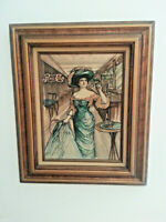 Antique Drink Pepsi Cola Delicious& Healthful 5¢ glass painting, Gibson Girl