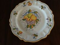 DERUTA ITALY VINTAGE POTTERY HAND PAINTED FRUIT SERVING DISH PLATE 14.5