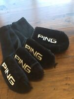 Set Of PING Vintage Style Plush Headcovers Black With White Embroidered Letters