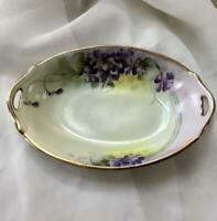 Antique Tohina E-OH NIPPON Trinket Dish~Violets~Hand-painted~Gilded Edge