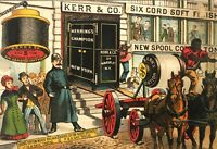 Victorian Trade Card Advertising Kerr Cotton Black Americana Wagons Horses