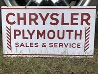 Vintage Chrysler Plymouth Sales Services Double Sided Metal Sign Not Porcelain