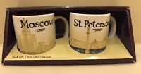 NEW 3oz Starbucks Coffee 2 Demitasse Icon City Mugs RUSSIA MOSCOW+ST. PETERSBURG