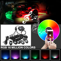 CREE RGB LED Lamp Multi-Color Rock Lights Under Body Bluetooth SUV ATV UTV 6Pods