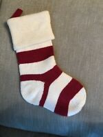 Pottery Barn Kids Striped Fair Isle Stocking Red And Cream Mono Removed