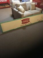 Large VINTAGE Tin  Coca Cola Fishtail Sign