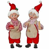 Set/2 RAZ Imports Christmas Santa Playful Kitchen Elf Shelf Doll Baker Decor