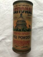 graphic NATIONAL Capitol Bldg CHILI POWDER Spice Tin Can Rasmussen 1927 Mpls
