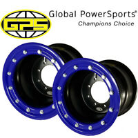 NEW - (x2) Goldspeed Beadlock ATV Wheels w/ Rings - 8x6, 2+4, 4/110/115, Blue