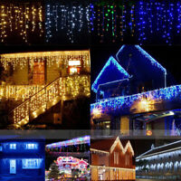1~7pcs Fairy LED Hanging Icicle Snowing Curtain String Lights Xmas House Decor
