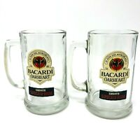 Set of 2 Bacardi Oakheart Smooth Spiced Rum Heavy Clear Glasses Mug Stein 14 oz