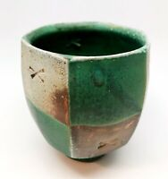 Jeff Oestreich Soda Fired Paneled Studio Pottery Yunomi. Clearly Stamped. Mint.