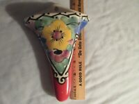 Vintage Czech wall pocket, hand painted-7.75