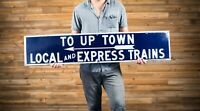 To Uptown Local and Express Trains New York City Porcelain Sign