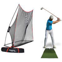 3Pc Practice Golf Net Training Aid Driving Hitting Mat Carry Bag Indoor Outdoor