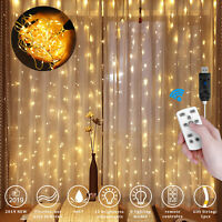 300LED Window Curtain String Lights Fairy Wedding For Indoor Outdoor With Remote