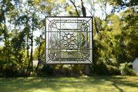 Handcrafted All Clear stained glass Beveled window panel 20