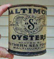 Early BALTIMORE OYSTERS PINT OYSTER TIN CAN MARYLAND ~ SOUTHERN SEA FOOD CO.
