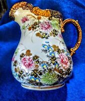 Antique Hand Painted pottery Pitcher