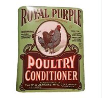 Vintage Royal Purple Poultry Conditioner Tin Can Advertising Farm Rooster