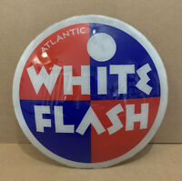Vintage Atlantic White Flash Gas Pump Globe Lens Glass Top Sign Garage Decor Oil